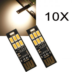 10X1W 50LM Varm Hvid Touch Switch USB Mobile Power Camping LED Lys Lampe