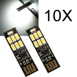 10X1W 50LM Vit Mini Touch Switch USB Mobile Power Camping LED Lampa