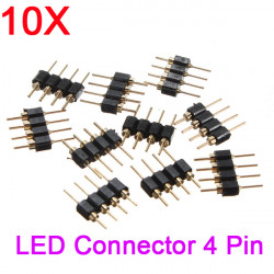 10X 4pin Male Connector for RGB 5050/3528 LED Strip Light Connect