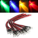 10pcs LED Lamp Light Bulb 20cm Pre Wired 5mm 12V DC Colorful Light LED Lighting