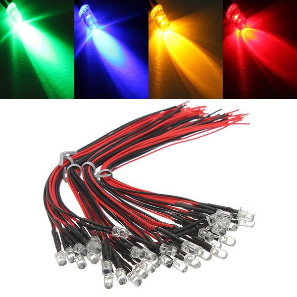 10stk LED Lampe Pære 20cm Pre Wired 5mm 12V DC Farverige Lys LED Belysning