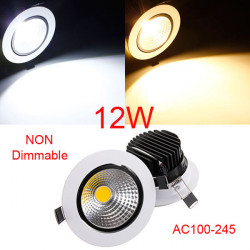 12W Icke-Dimbar COB LED Infällda Takarmatur Down Light Kit