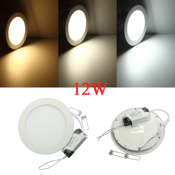 12W Runde Ceiling Ultratynd Panel LED Lampe Downlight Lys 85-265V LED Belysning