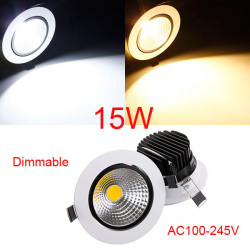 15W Dimmable COB LED Infällda Takarmatur Down Light Kit