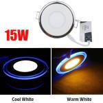 15W Einbau Runde LED Deckenverkleidung Licht Acryl Dual Ring Downlight LED Beleuchtung