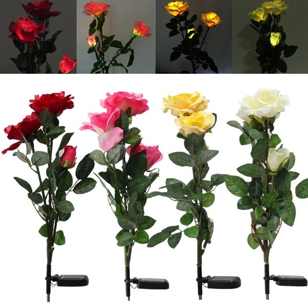 1 x Solar Power 3 LED Rose Flower Light Outdoor Garden Yard Lawn Decor LED Lighting