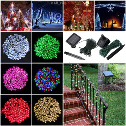 200 LED Soldrevne Fe String Lys Have Party Decor Xmas