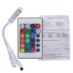 24 Key Mini IR Fjärrkontroll för 3528 5050 RGB LED Slinga Ljus DC 12V