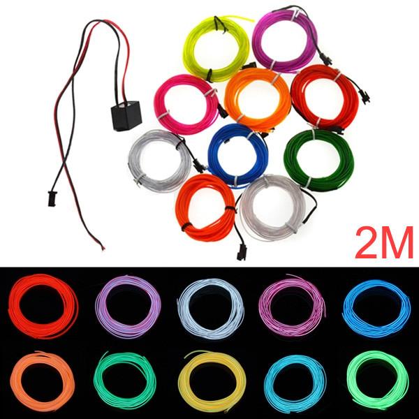 2M 10 Färger 12V Flexibel Neon EL Wire Ljus Dance Party Dekorljus LED Slingor / Ljusslingor