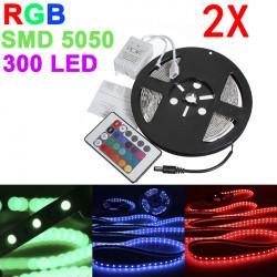2X 5M 5050 SMD RGB Non-Waterproof 300 LED Strip Light 12V DC