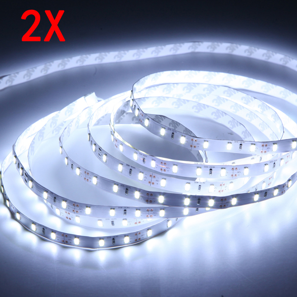 2X 5M White SMD5630 300 LED Strip Lights Non-Waterproof Indoor Use 12V LED Strip