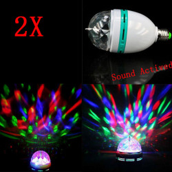 2X E27 3W RGB Auto Roterende Lyd Aktiveret LED Disco Lys Pære Lampe
