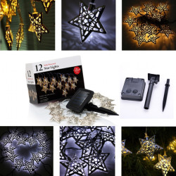 3.6m 12 LED Solar Powered Stars String Fairy Lights Christmas Decor
