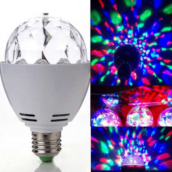 3W E27 RGB LED Crystal Roterende Pære Lampe Julefrokost Stage Lys