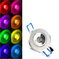 3W RGB LED Recessed Spotlight Ceiling Light Lamp Blub With AC 85-265V