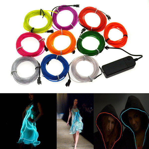 4M 10 Färger 3V Flexibel Neon EL Wire Ljus Dance Party Dekorljus LED Slingor / Ljusslingor