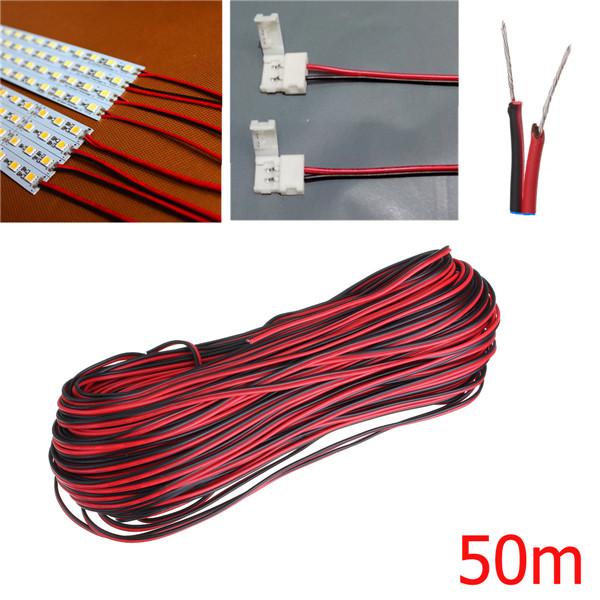 50m 2 Pin Extension Wire Connector Kabel Sladd för LED-remsa Ljus LED Slingor / Ljusslingor
