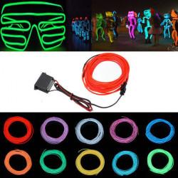 5M 12V Fleksibel Neon EL Wire Let Sommer Dancing Party LED Bånd Lysbånd