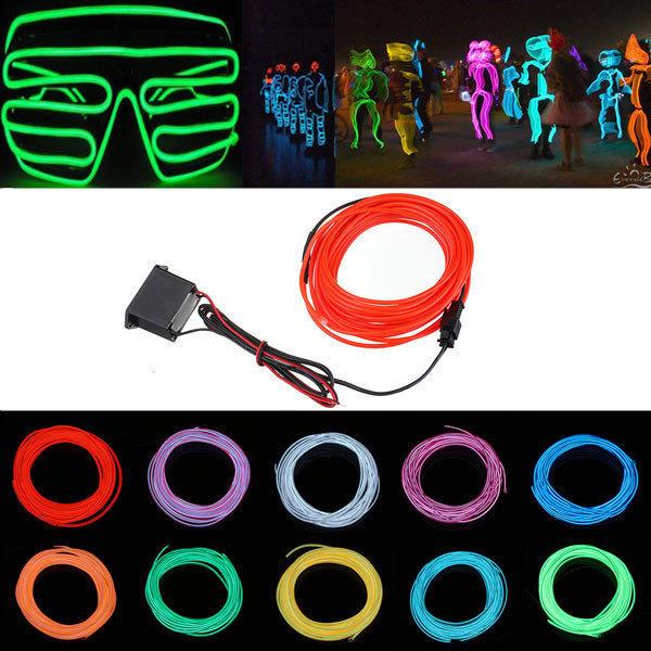 5M 12V Fleksibel Neon EL Wire Let Sommer Dancing Party LED Bånd Lysbånd LED Bånd / Lysbånd