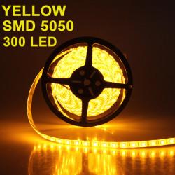 5M 5050 SMD LED Slinga Ljus Vattentät Gul 300 LED DC 12V
