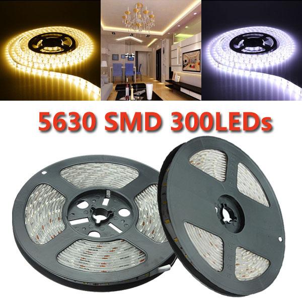 5M SMD 5630 300 LED Slinga Ljus DC 12V Vattentät IP65 LED Slingor / Ljusslingor
