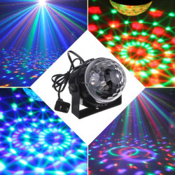 5W RGB Crystal Magic Ball Effect Stage Lys Stemmestyring Party Disco Club