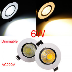 6W Dimmable COB LED Recessed Ceiling Light Fixture Down Light 220V