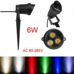 6W LED Flood Spotlampe Med Rod & Cap for Have Yard IP65 AC 85-265V