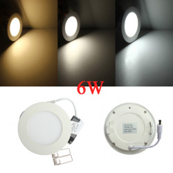 6W Round Ceiling Ultrathin Panel LED Lamp Downlight Light 85-265V