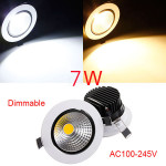 7W Dimbar COB LED Infällda Takarmatur Down Light Kit LED-belysning