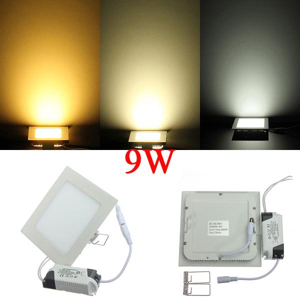 9W Square Ultrathin Ceiling Energy-Saving LED Panel Light AC 85-265V LED Lighting