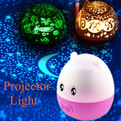 Auto Rotating Star Projector Lamp Musik LED Pig Nattlampa
