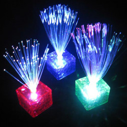 Färgglada Optisk Fiber Blinkande LED Cube Nattlampa Party Decoration