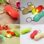 Kreative Erdnuss geformte LED Taschenlampe w / Knöpfe Schlüssel Ring Kette Fob LED Beleuchtung