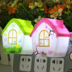 Cute Cartoon House Light Control LED Night Light For Children's Room