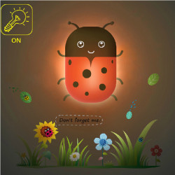DIY Wallpaper LED Light-controlled Small Ladybug Night Light Wall Lamp