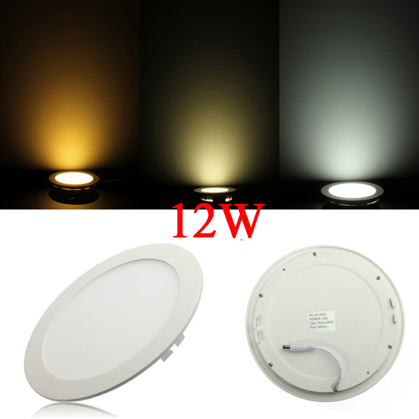 Dimmable Ultrathin 12W LED Ceiling Round Panel Down Light Lamp LED Lighting