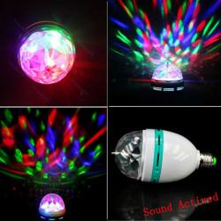 E27 3W RGB Auto Rota Ljud Aktiverad LED Disco Ljus Lampa