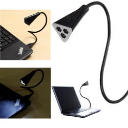 Fleksibel 3 LED USB Læselampe Lys Portable Desk Lamp for PC Laptop Computer