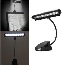 Flexibla 9 Lysdioder Clip-On Orchestra Music Stand Piano Lampa Ljus