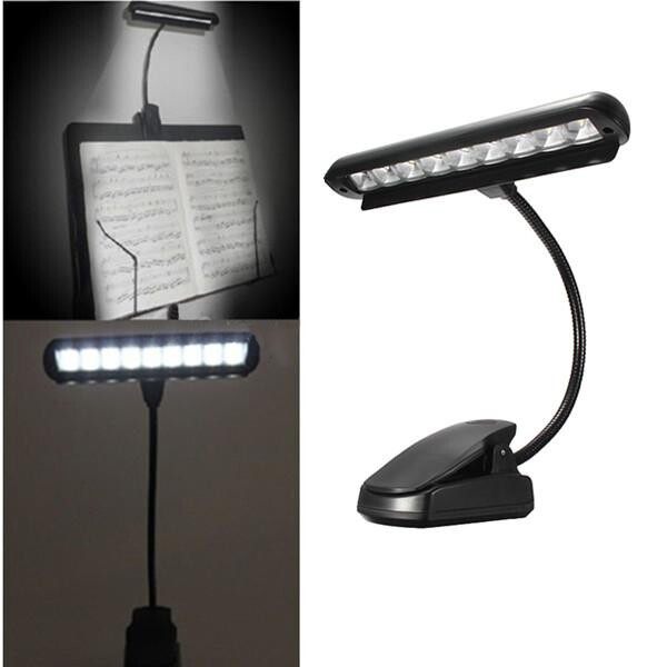Flexible 9 LEDs Clip On Orchesternotenpult Piano Lamp Light LED Beleuchtung
