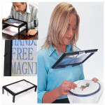 LED A4 Page Large Hands Free Magnifier 3X Magnifying Reading&Cord LED Lighting