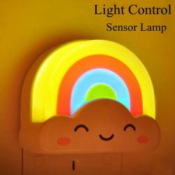 LED Cloud Rainbow Ljus Kontrollerad Sensor Nattlampa för Sovrum