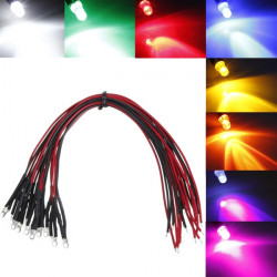 LED-lampa 20cm Pre Wired 3mm 12V DC Colorful F3 Cree