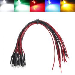 LED Light Bulb 20cm Pre Wired 3mm 12V DC Colorful F3 Flat