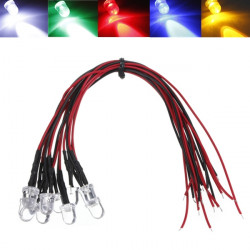 LED Light Bulb 20cm Pre Wired 8mm 12V DC Colorful F8 Cree