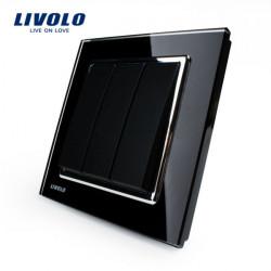LIVOLO Black Crystal Glass K-Pad Wall Light Switch 3G1W VL-W2K3-11