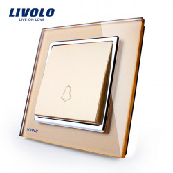 LIVOLO Gold Crystal Glass K-Pad Door Bell Switch VL-W2K1D-13