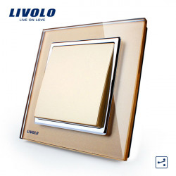 Livolo Goldkristallglas K Pad Wand Lichtschalter 1G2W VL W2K1S 13