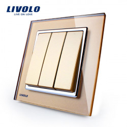 LIVOLO Gold Crystal Glass K-Pad Wall Light Switch 3G1W VL-W2K3-13